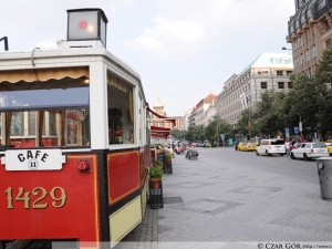 Café Tramvaj 11 na Placu Wacł'awa (Václavské náměstí)