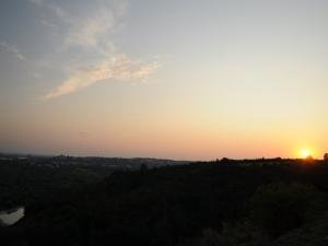 Sandomierz o zachodzie słońca z Gór Pieprzowych