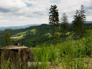 Osiedle Mraźnica. W tle Beskid Śląski
