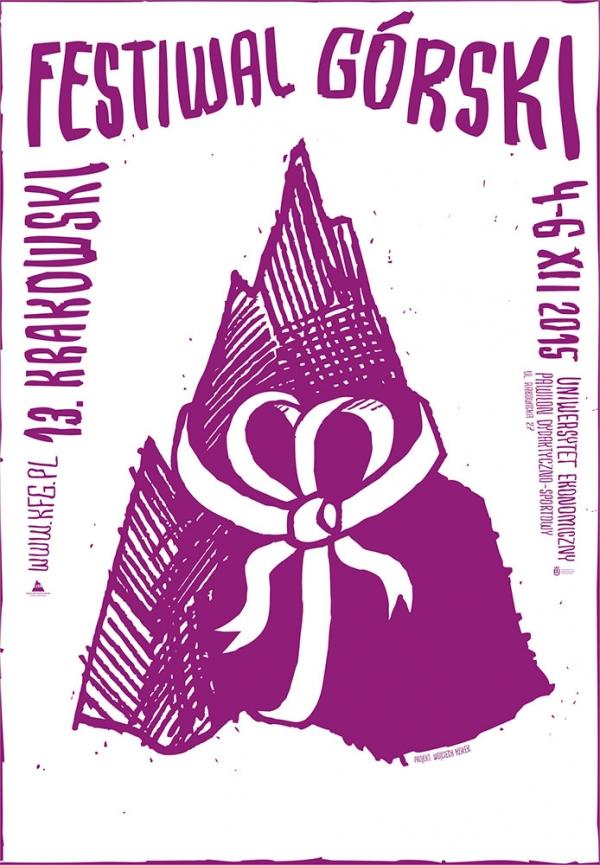 Plakat 13. Krakowskiego Festiwalu Górskiego autorstwa Wojtka Kołka