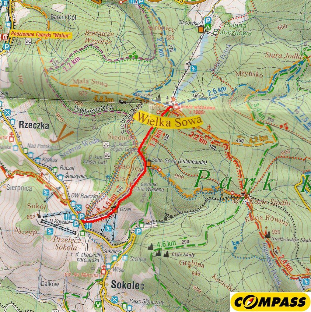 Mapa - przebieg trasy (Wielka Sowa)