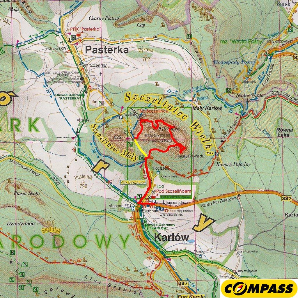 Mapa - przebieg trasy na Szczeliniec Wielki