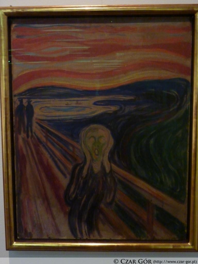 Jeden z najbardziej znanych obrazów Edwarda Muncha: Krzyk (muzeum w Oslo)