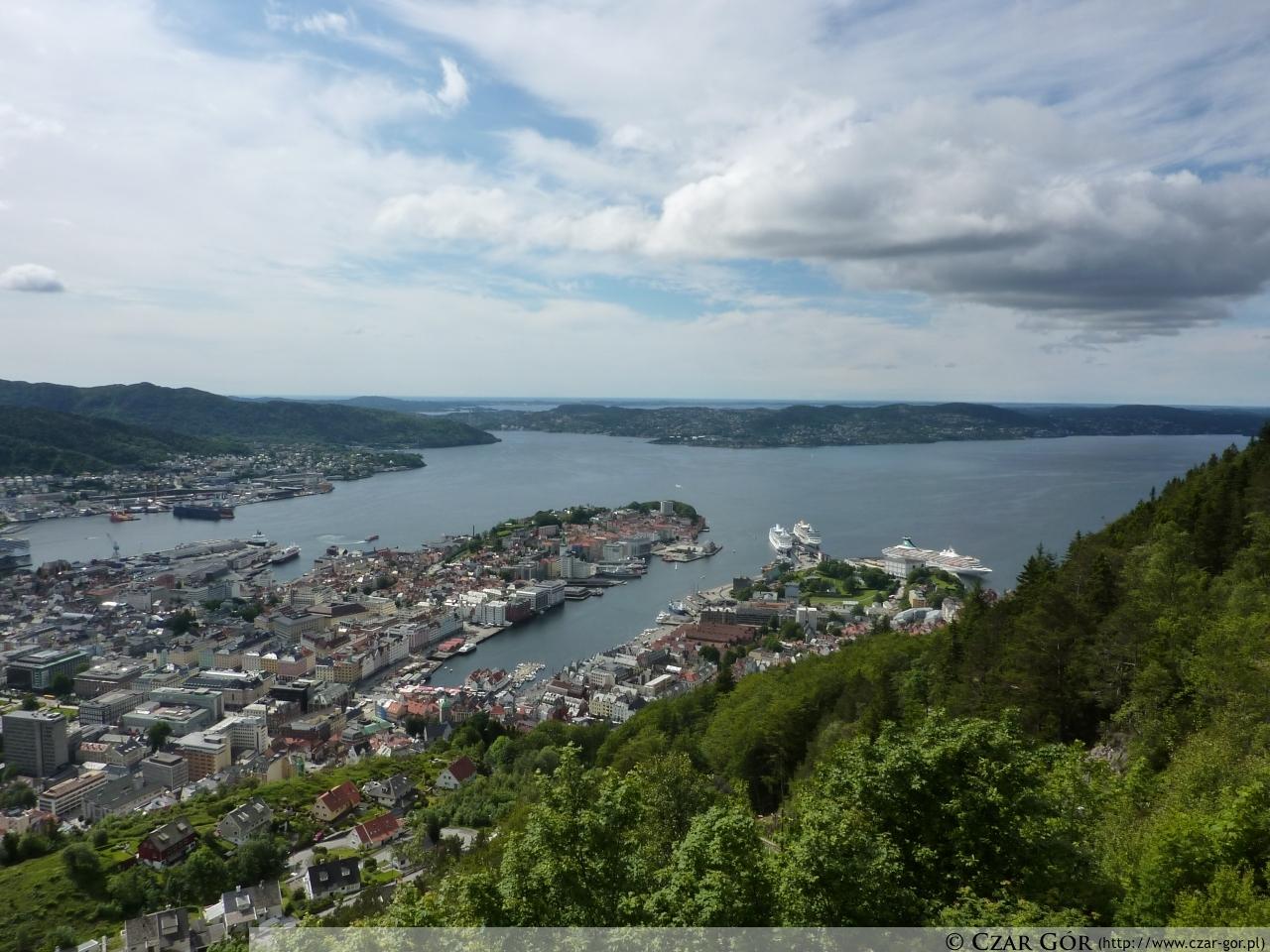 Panorama z góry Fløien w stronę Bergen