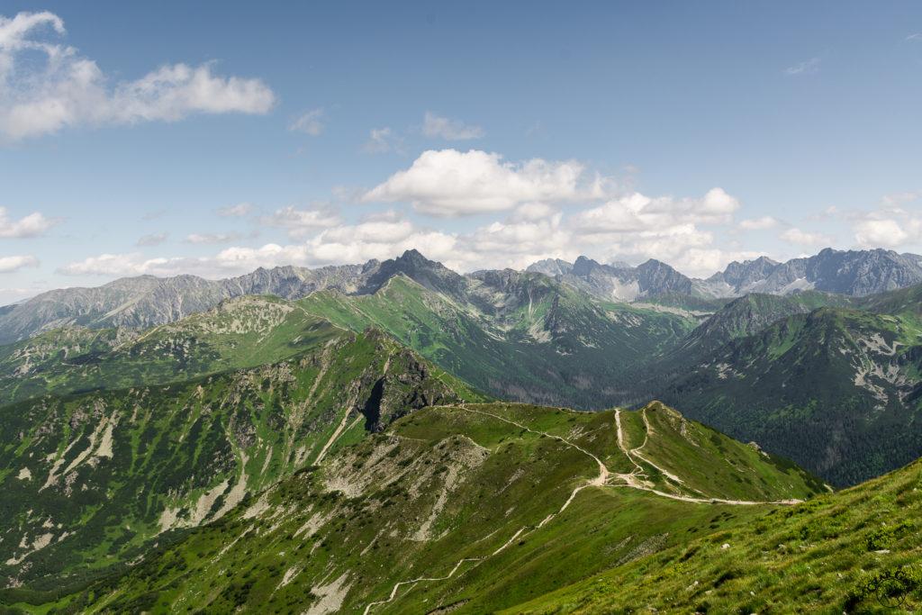 Ścieżki na Przełęczy pod Kopą Kondracką. W stronę Kasprowego, Świnicy i Tatr Wysokich