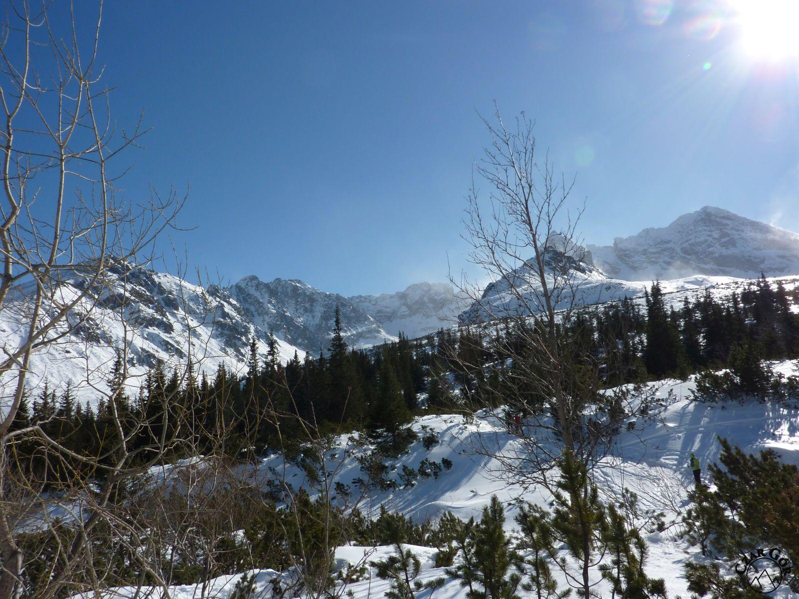 Wycieczka skitourowa pod Przełęcz Karb. Po prawej - Świnica