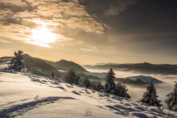 Zimowy wschód słońca w Pieninach