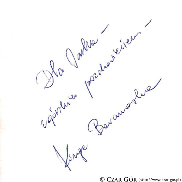 Autograf Kingi Baranowskiej