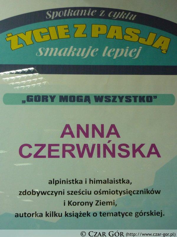 Plakat spotkania z Anną Czerwińską