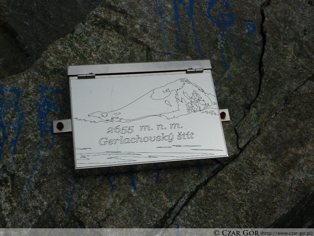 Gerlach - tablica na szczycie