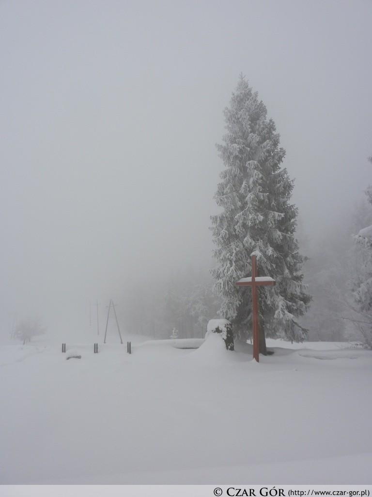 Krzyż przy rozdrożu szlaków - na Wielkiej Cisowej